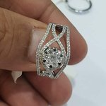 Cocktail diamond ring in 18k White gold with pressure set center round diamond which is made of 7 small diamonds...