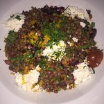 lentil salad with feta and roasted beetroot