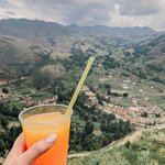 Freshly squeezed orange juice with a view