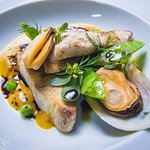 Fish Fillet & Mussels in a Pumpkin Saffron Fond