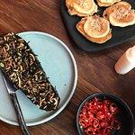 Kimchi pancakes and miso dengaku eggplant
