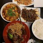 Fish Pot, spaghetti, beef stir fry