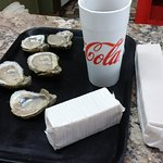 Delish...all you need - fresh oysters, hot sauce and crackers.