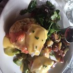 Nova Lox Benedict with American Fries and salad.
