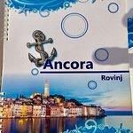 the menu cover of Restaurant Ancora in Rovinj