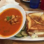 Tomato basil soup and grilled cheese! Ver good