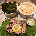 Southern fusion: Ahi tuna, collards, local stone-ground cheese grits