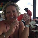 Watermelon jello shots on the deck