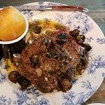 Braised beef dish my husband had.
