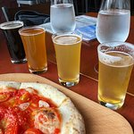 Pizza and a flight of beer for lunch