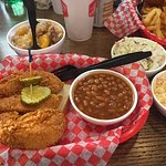fried chicken tenders with peach cobbler