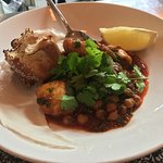 Squid with chickpeas.