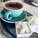 Amazing Hot White Chocolate! Super friendly staff. They make their own marshmallows and they were perfect. I would go back to try a waffle. If you're looking for a quiet spot to decompress with a cup of coffee and you're in the area check it out.