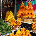 Stunning pyramids of fruit.