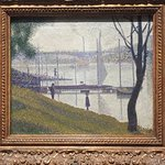 Paul Seurat. One of his pointalist paintings of the River Seine south of Paris. Hope you enjoyed