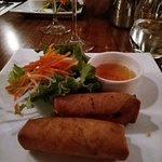Appetizer from the Violin Table d'Hôte (pork imperial rolls served with a salad on the side)
