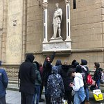 Tour guide Ellie tells our students about Orsanmichele