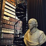 Inside the library are busts of famous authors.