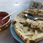 Best naan ever (potato and cheese) & #20 lamb curry
