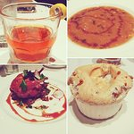 My meal -- Sazerac, Turtle Soup, Candy Apple Lacquered Quail, and Bread Pudding Souffle with Whi