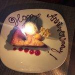 Decorated anniversary dessert