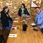 Pearl Landesman tasting a Rose wine at Nevo Winery with our guide,Barak Yitzhaki. Sharon, the ma