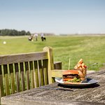 A Prince's Burger on the terrace after golf