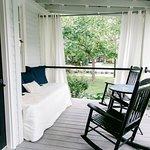 Guest private porch with privacy curtains