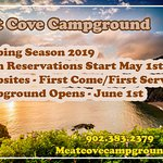 Meat Cove Campground starts taking bookings for cabins on May 1, 2019 - Open June 1, 2019.