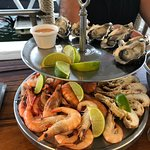 Platter for two. Oysters, prawns and bugs.