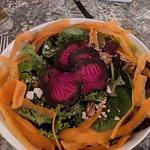 Mushroom ravioli and the roasted beet salad