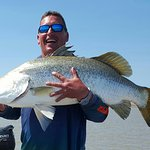 Maurie caught this massive salt water Barramundi on the Tag Along Trip