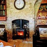 Log fire top dinning room