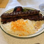 Soltani (Mix of Koobideh and Barg) Kabobs, you can order this with salad instead of rice