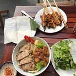 cau lao and pork skewer wraps