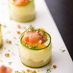 Salmon Cheesecake on savory crumble
