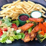 27 bar music food Sweet & Sour Chicken w/ fries & salad. Check out our weekspecials!