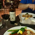 Pasta at Solomon's Landing in Cabo San Lucas - Seafood Pappardelle for him and Chicken Parmesan