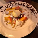"""Special """"Congratulations"""" dessert from the staff! We were so full from dinner that we didn't ord"""