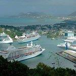 Four cruiseships in port.