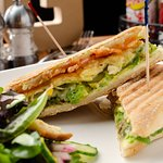 Try our Avocado Panini made with fresh avocado, Monterey Ghost Pepper Jack, tomato, scrambled egg, and Egg Wits homemade basil pesto mayo on Ciabatta bread.