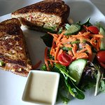 Pimento cheese sandwich and petit salad