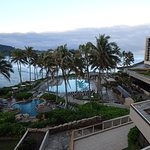 A view of the pools, hot tubs, and ocean