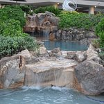 The waterfalls in the pool area