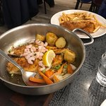 Fish and Chips and sautéed fish/shrimp with potatoes and veggie. So yummy!!