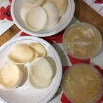 Chicken and sweet corn soup with prawn crackers