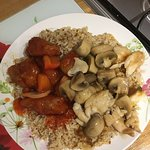 Fried rice, sweet and sour chicken, chicken and mushrooms with no other veg