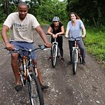 Me and my client do bike tour in arusha national park