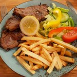 Costeletas de  Borrego: Lamb Cutlets with Homemade French Fries and Salad