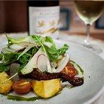 Fresh local Octopus served with potato, salsa, fennel, radish salad & Plantagenet Chardonnay